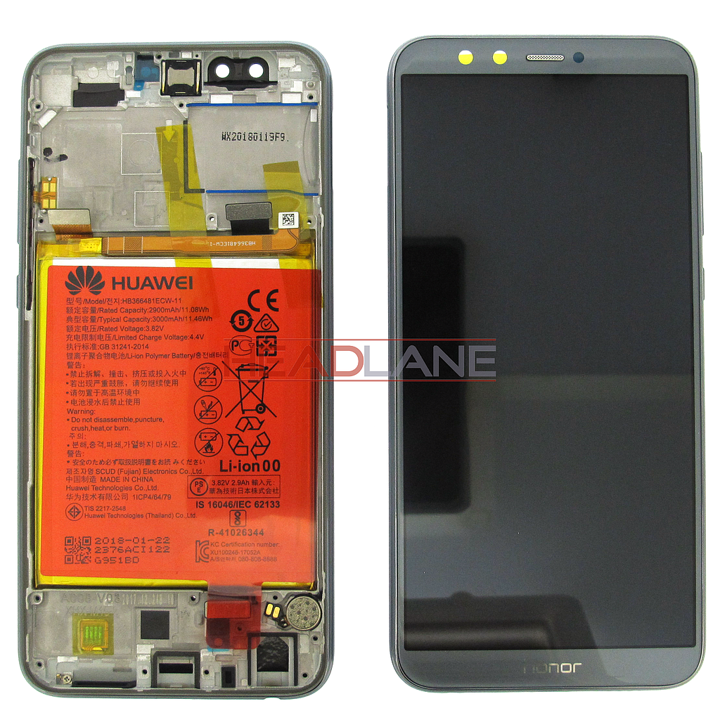 Huawei Honor 9 Lite LCD Display / Screen + Touch + Battery Assembly - Grey