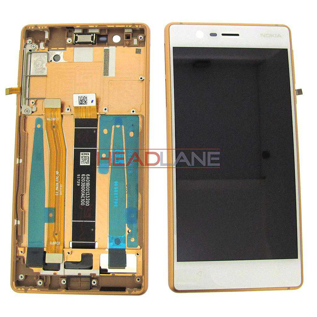 Nokia 3 LCD Display / Screen + Touch - Copper (Type B - Single SIM)