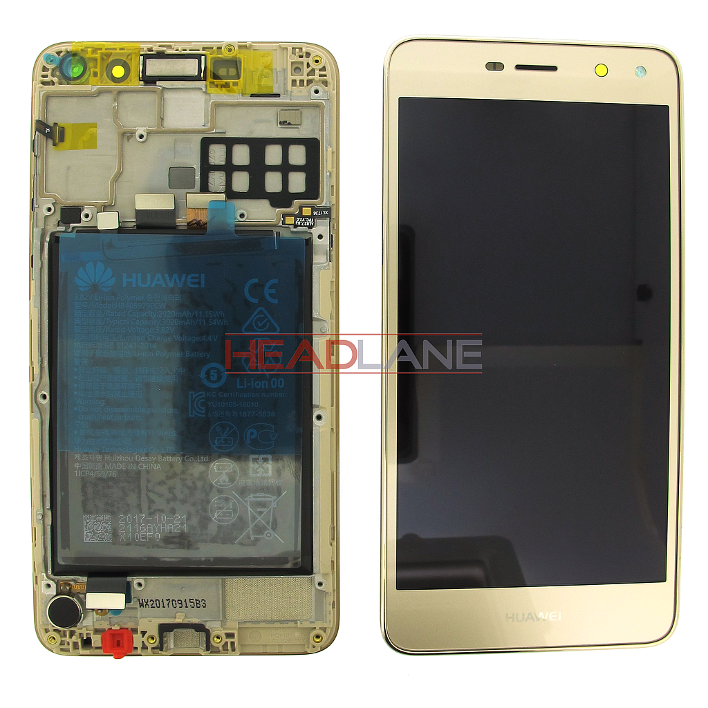 Huawei Y6 (2017) LCD Display / Screen + Touch + Battery Assembly - Gold