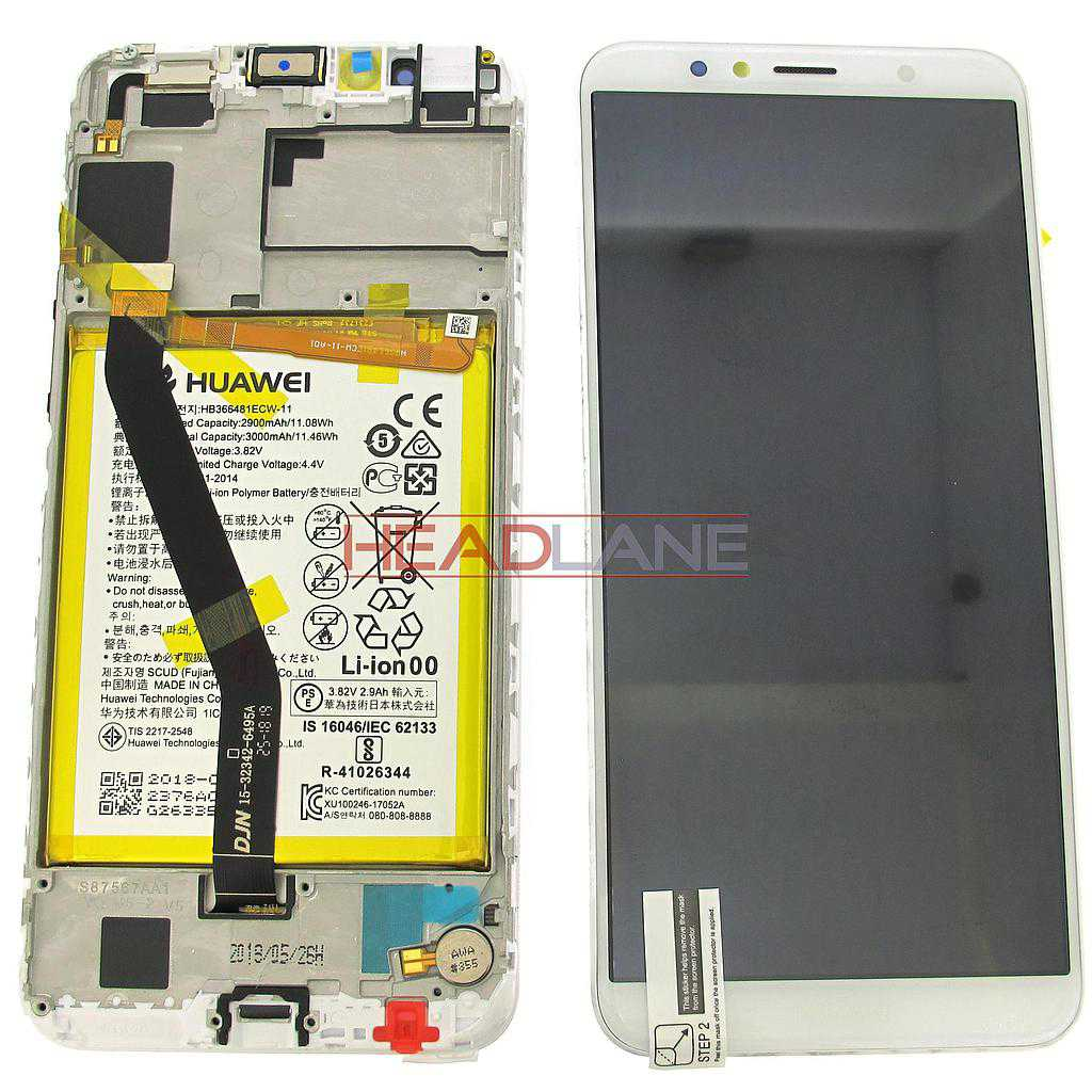 Huawei Y6 (2018) LCD Display / Screen + Touch + Battery Assembly - White