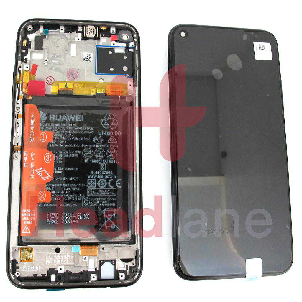 Huawei P40 Lite LCD Display / Screen + Touch + Battery Assembly - Midnight Black