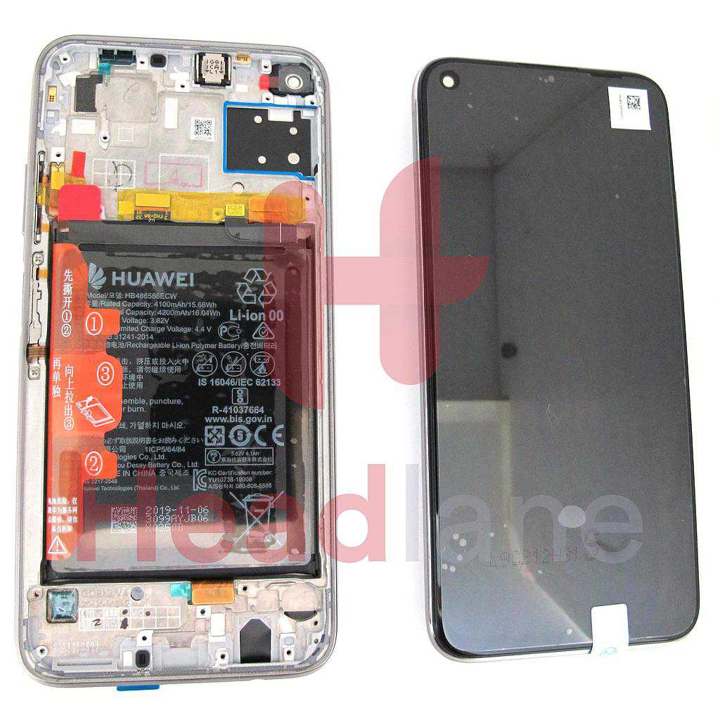 Huawei P40 Lite LCD Display / Screen + Touch + Battery Assembly - Breathing Crystal