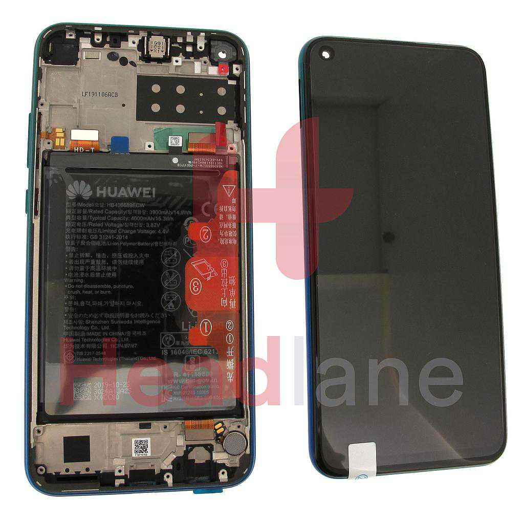 Huawei P40 Lite E LCD Display / Screen + Touch + Battery Assembly - Aurora Blue