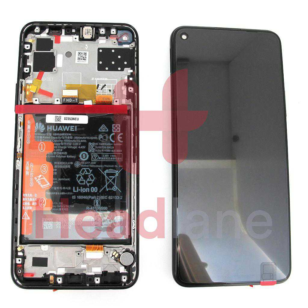 Huawei P40 Lite 5G LCD Display / Screen + Touch + Battery Assembly - Midnight Black