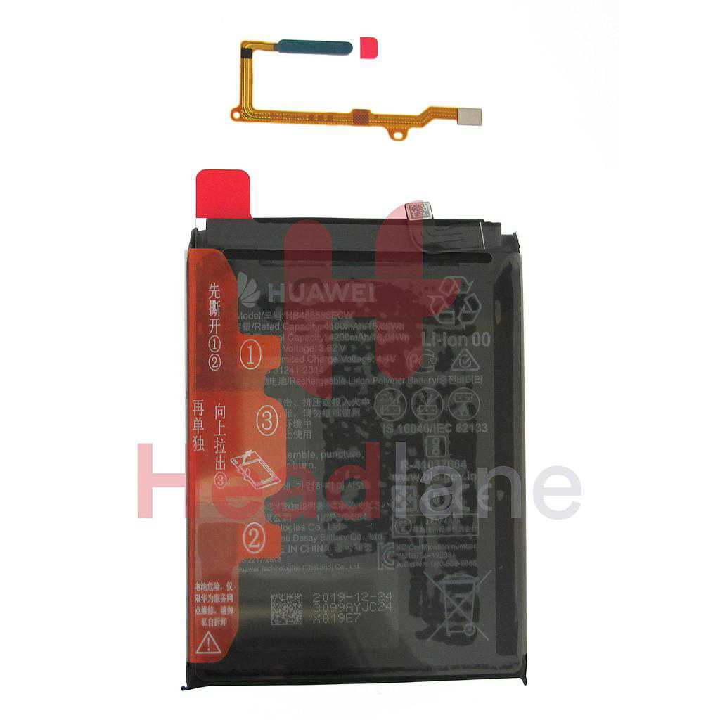 Huawei P40 Lite Fingerprint Read / Sensor + Battery - Crush Green