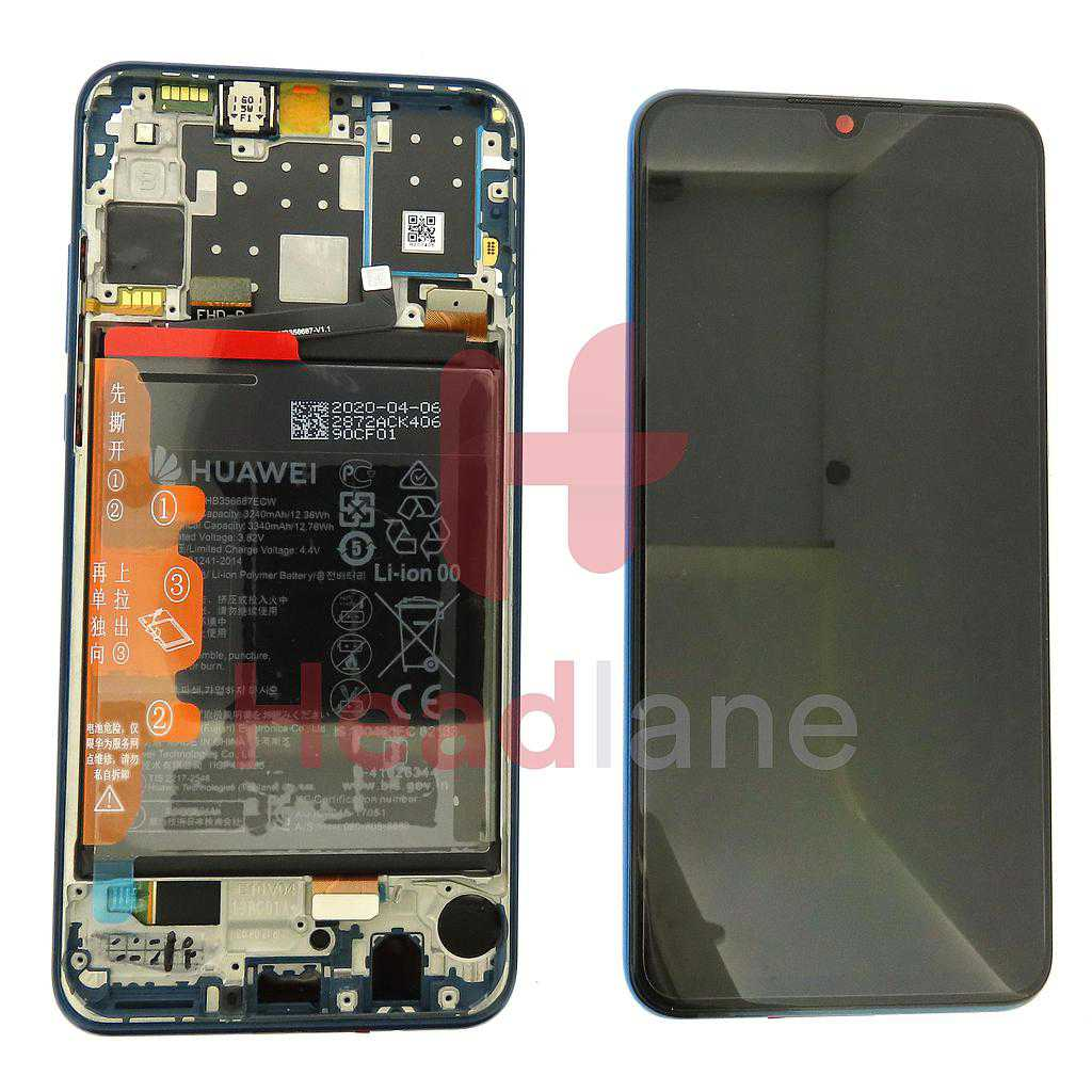 Huawei P30 Lite (New Edition) LCD Display / Screen + Touch + Battery Assembly - Blue