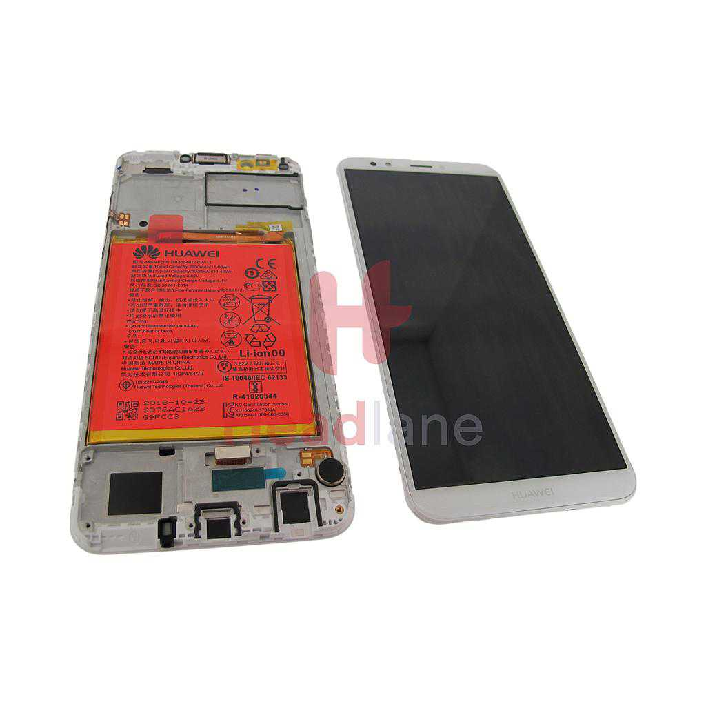 Huawei Y7 (2018) LCD Display / Screen + Touch + Battery Assembly - White