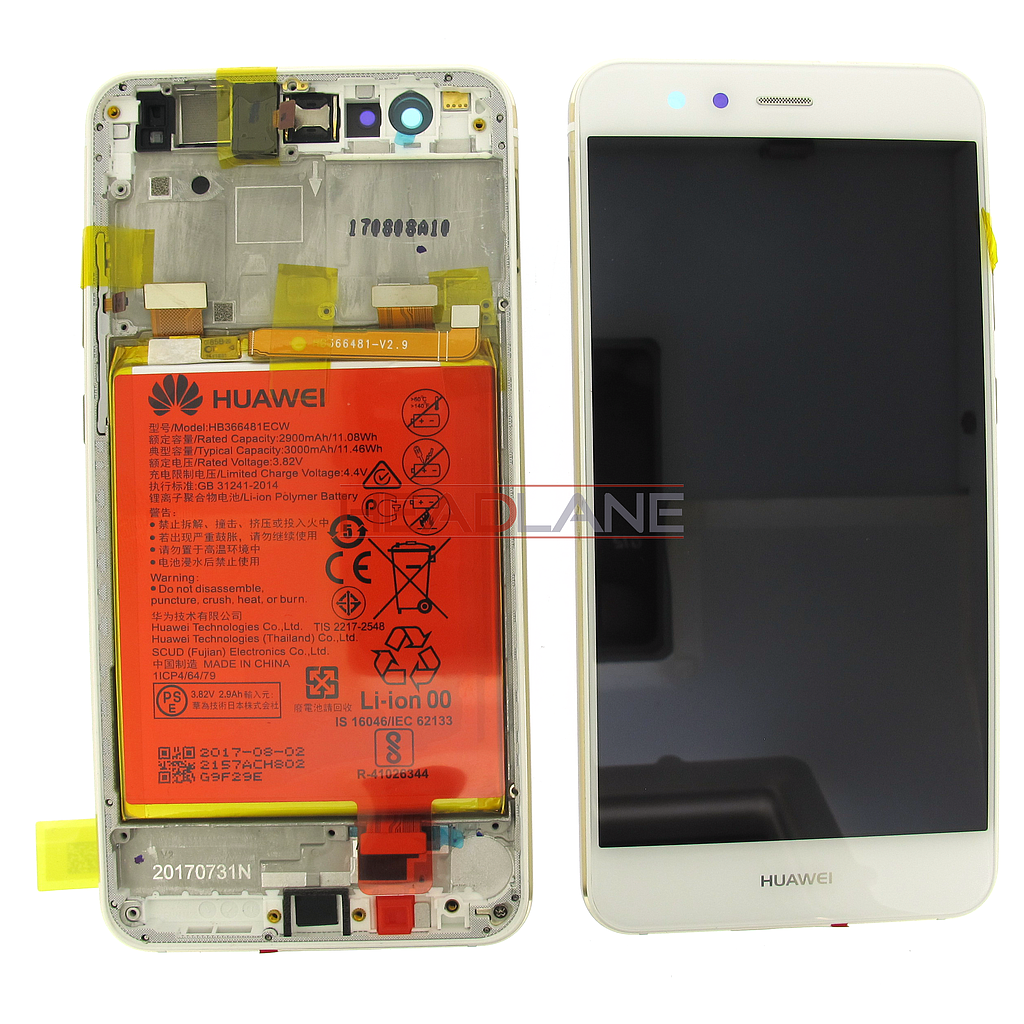 Huawei P10 Lite LCD Display / Screen + Touch + Battery Assembly - White
