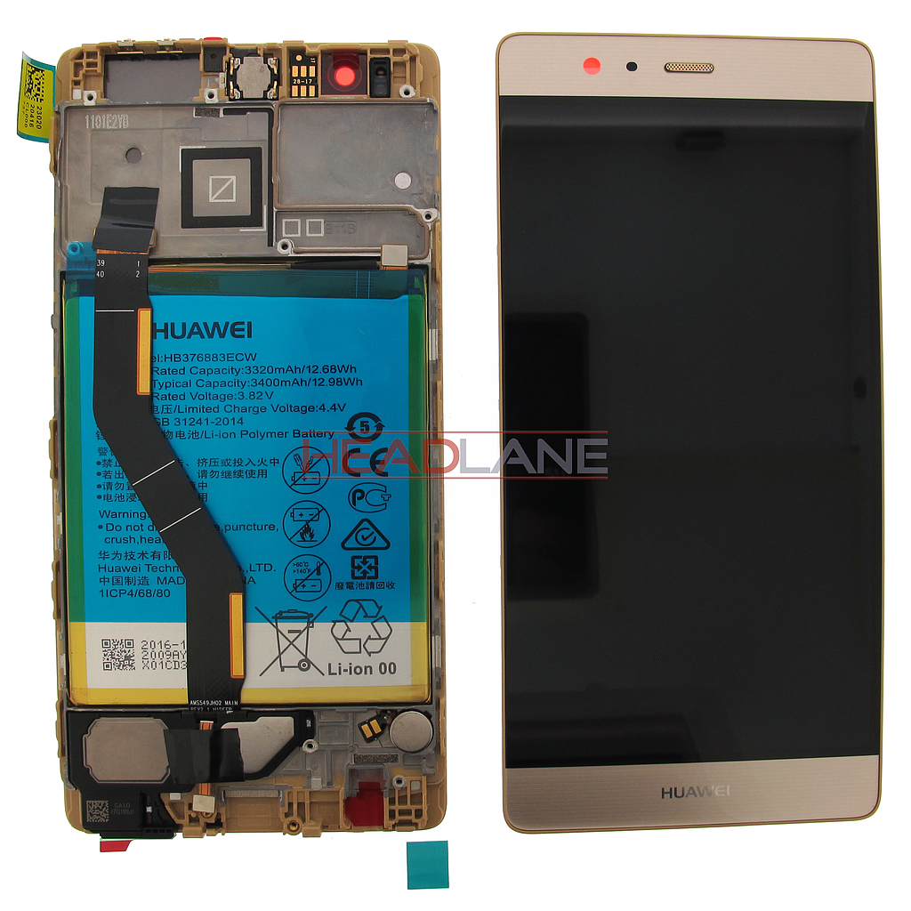 Huawei P9 Plus LCD Display / Screen + Touch + Battery Assembly - Gold
