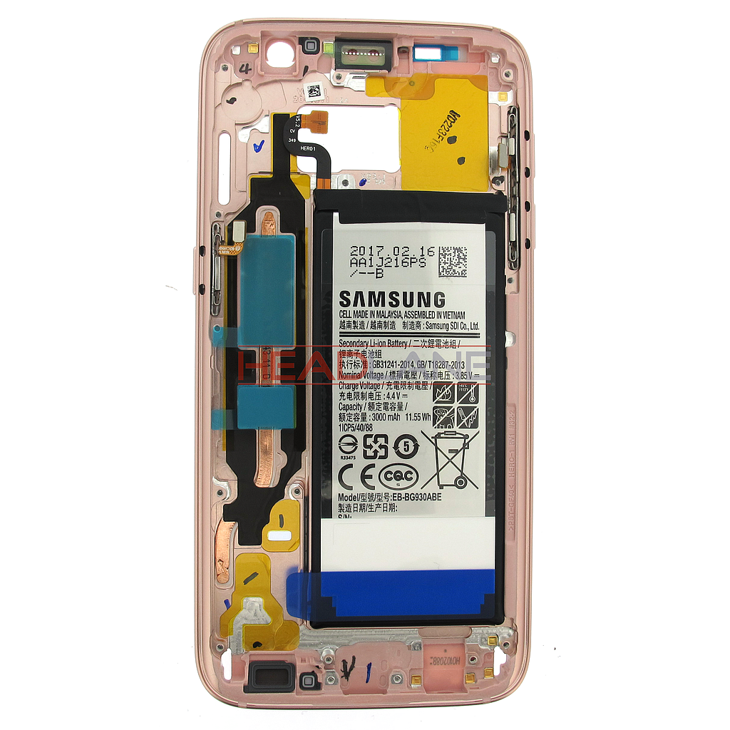 Samsung SM-G930F Galaxy S7 Middle Cover + Battery Pink Gold